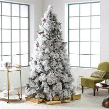 belham living flocked pine needle pre lit tree with