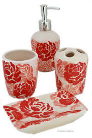 Ceramic Bathroom Accessories by Set 4 Piece Red Coral White Floral Ceramic Bathroom Accessories Ebay