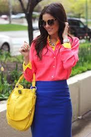 women u0027s pink dress shirt blue pencil skirt yellow leather