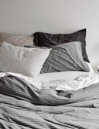 Jersey Cotton Duvet Set Cotton Jersey Duvet Cover Set Grey Ticking Stripe Duvet Cover