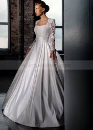 scoop neckline long sleeves floor length ivory lace satin wedding