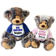 Engraved Teddy Bears Big Brother Little Sister Personalized Teddy Bears Set Of 2
