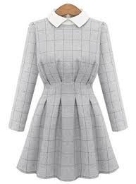 dress pattern fit and flare dress white collar checked pattern fit and flare cut