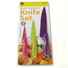 3 piece colorful multi purpose knife set