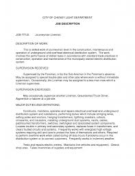 Resume Description Examples by Resume Objective Examples For Lineman