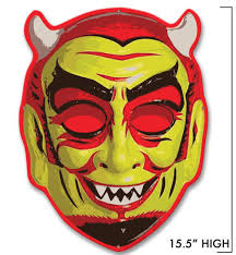 devil mask for halloween fun house devil mask metal sign retro a go go
