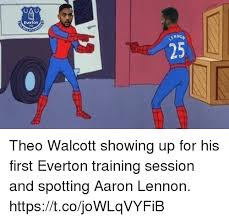 Funny Everton Memes - when aaron lennon spots theo walcott in everton training