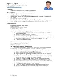 Sample Objectives In Resume For Service Crew by Aycardo Ryan L Technical Support Technology
