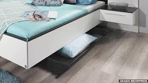 Schlafzimmer Bett Mit Led Set Coleen In Weiß Graphit Basaltglas Mit Led