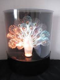 vintage peacock light fiber optic color change white peacock retro