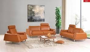 Leather Sofa Set For Living Room Esf 531 Orange Top Grain Italian Leather Sofa Set 3pcs With