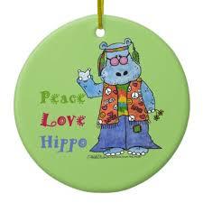 hippie hippo peace hippo ceramic ornament zazzle