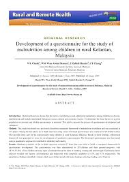 Questionnaire For Home Design by Development Of A Questionnaire For The Study Of Malnutrition Among