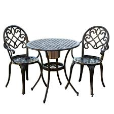 Cast Iron Patio Table And Chairs by Amazon Com Best Selling Bistro Set With Ice Bucket Outdoor And