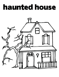 printable spooky house haunted mansion coloring pages drawn haunted house printable 1