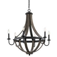 kichler kitchen lighting kichler lighting merlot 30 in 6 light distressed black and wood
