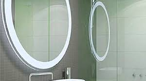 unique bathroom mirror ideas round light brown fabric covered