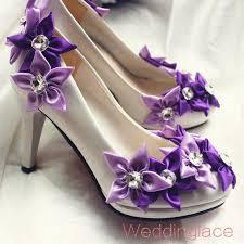 wedding shoes purple wedding shoes handmade satin purple flower with rhinestone white