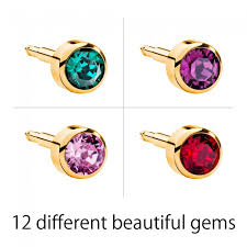 ear piercing studs gold plated birthstones ear piercing studs