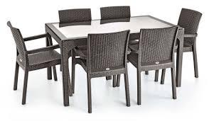 7 piece poly rattan dining furniture set u2013 dark brown u2013 levamarket