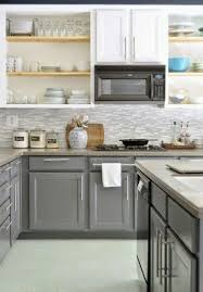 kitchen cabinets gray bottom white top gray on bottom white on top home kitchens kitchen