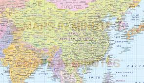 asain map digital vector map of east asia region political with