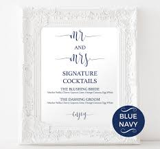 wedding drink menu template signature drinks printable navy signature drink wedding