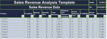 download sales revenue analysis excel template exceldatapro