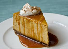 pumpkin cheesecake with gingersnap crust and caramel sauce once
