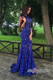 lace appliques beads sleeveless mermaid royal blue gorgeous prom