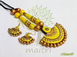 yellow necklace set images Terracotta jewellery yellow pendant yellow earrings neckace jpg