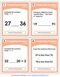 comparing numbers 2 digit worksheets