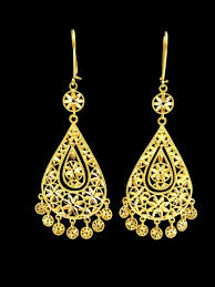 yellow gold earrings 21k gold earring earring 6261 alquds jewelry