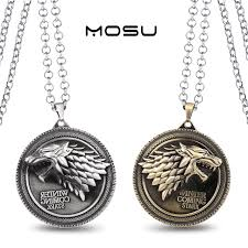 charm drop necklace images Game of thrones house stark metal necklace can dropshipping charm jpg