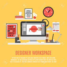 designer home office workspace with desk computer and work tools