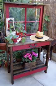 Inexpensive Potting Bench by Vintage Window Potting Table Garden Structureseffects