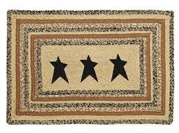 Rug With Stars Braided Jute Rugs Retro Barn Country Linens