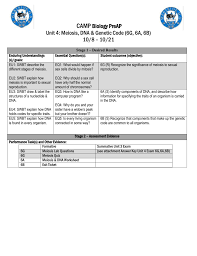 camp biology preap unit 4 meiosis dna u0026 genetic code 6g 6a