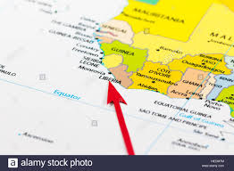 Liberia Africa Map by Red Arrow Pointing Liberia On The Map Of Africa Continent Stock