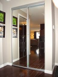 bathroom three piece of sliding mirror closet doors with beige thin wooden bunnings diy
