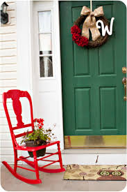 front porch decorating ideas with flower pots on red stained