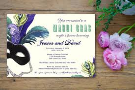 masquerade mardi gras bridal shower invitation customized