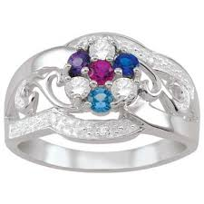 mothers ring 7 stones s birthstone and diamond accent filigree flower family ring