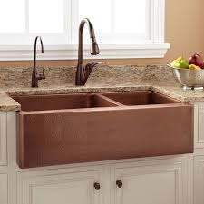 Tegan  Offset DoubleBowl Copper Farmhouse Sink Kitchen - Copper sink kitchen