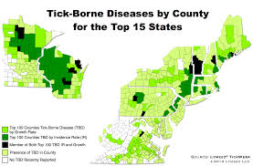 Map Usa States by Tick Borne Diseases Incidences By County For The Top 15 Us