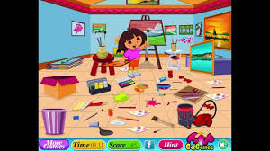 dora the explorer dora drawing room cleaning let u0027s play
