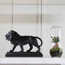 Home Decor Statues Home Decor Animal Sculpture Black And White Resin Lion Statue For