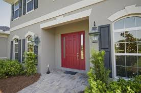 traditional front door with arched window u0026 red front door in fort