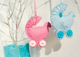 personalized felt pram ornament baby or boy expect a