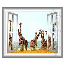 Safari Wall Murals 3d Window Wall Decal Giraffes Mural Wall Art Sticker Window Frame